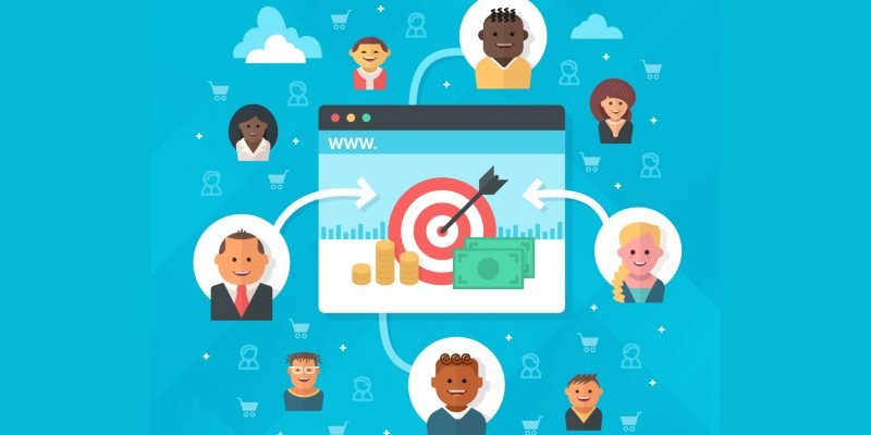 Attracting customers to online business or e-commerce website, increasing sales and building successful online store. Concept of online marketing success and achieving goals in e-business